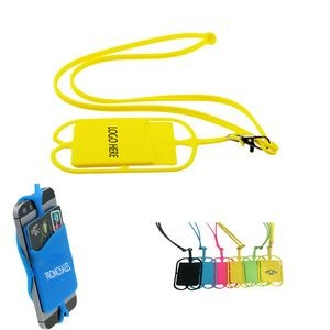 Silicone Neck Lanyard Cell Phone Holder w/ Card Sleeve