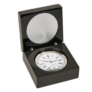 Clock In Beautiful Black Piano Finish Wood Box with Hinged Lid