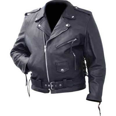 Men/'s Black Genuine Buffalo Leather Motorcycle Jacket Rock Zip-out Liner Mens